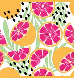 fruit seamless pattern grapefruit leaves flowers vector image