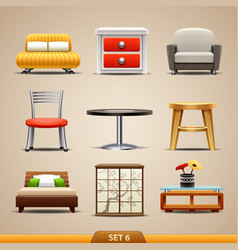 Furniture icons-set 6 vector