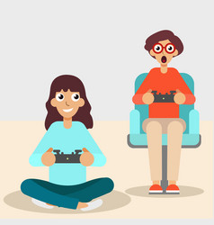 girl and guy with console joystick vector image