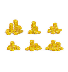 Golden coins stack set vector