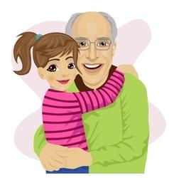 Grandfather hugging her cute granddaughter vector