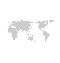 grey world map flat design asia in center vector image