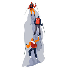 Group climbers on rope in glacier vector