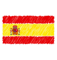 hand drawn national flag of spain isolated on a vector image