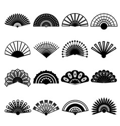 hand fan signs black thin line icon set vector image