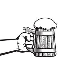 hand holding old wooden mug full beer vector image