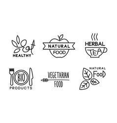 healty natural vegetaran food linear logo set vector image