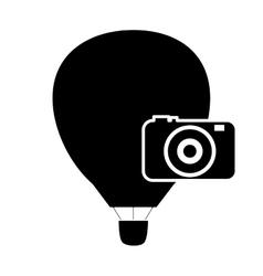 hot air balloon and camera icon vector image