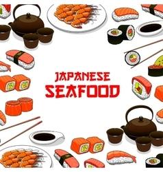 Japanese seafood sushi fish sashimi poster vector
