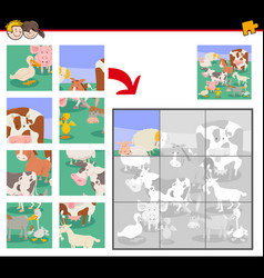 jigsaw puzzle game with cartoon farm animals vector image
