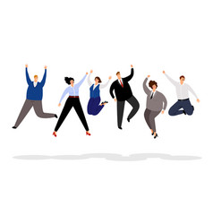 jumping business people happy office people vector image