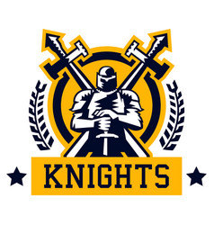 Knight logo warrior in the iron and heavy armor vector