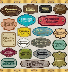 Leather Premium Quality labels vector image vector image