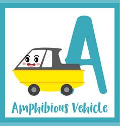 Letter a vocabulary amphibious vehicle vector