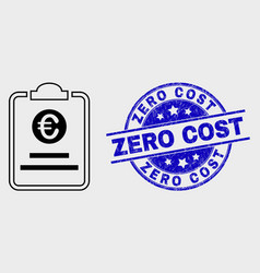 linear euro price pad icon and grunge zero vector image