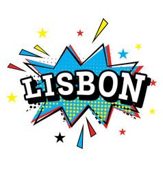 lisbon comic text in pop art style vector image