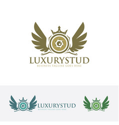 luxury studio logo design vector image