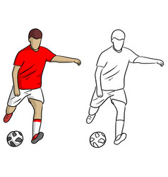 male soccer player shooting ball for goal vector image