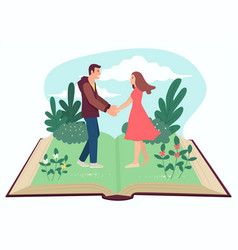 man and woman holding hands on open book vector image