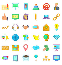 Management icons set cartoon style vector