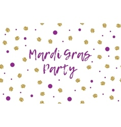 Mardi gras greeting card with violet and gold dots vector