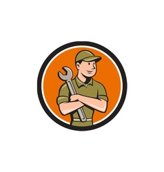 Mechanic Arms Crossed Spanner Circle Cartoon vector