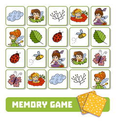 memory game for children cards with fairies and vector image