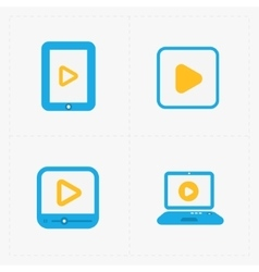 Modern colorfull flat video player icons vector image