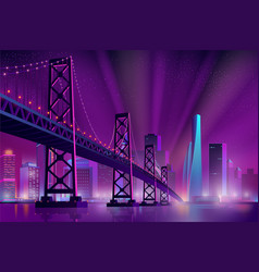 modern metropolis night landscape cartoon vector image