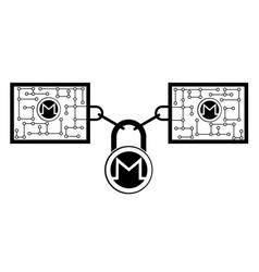 Monero block chain technology icon disign vector