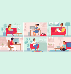 people work from home freelance working cat vector image