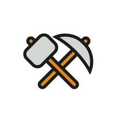 pick-axe and hammer icon on white background vector image