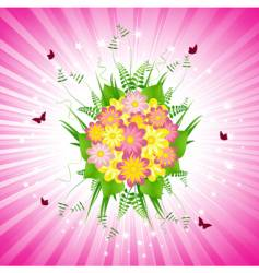 pink floral bouquet and starburst vector image
