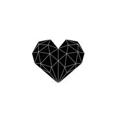 polygonal heart black and whte vector image