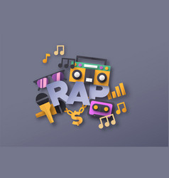 rap music style quote with papercut musical icon vector image