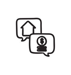 Real estate transaction sketch icon vector