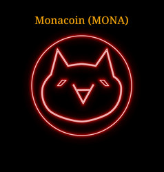 Red neon monacoin mona cryptocurrency symbol vector