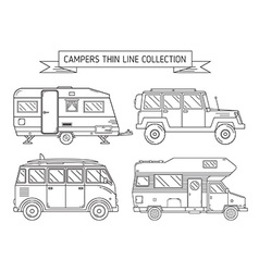 RV Campers and Trailer in Thin Line Art vector