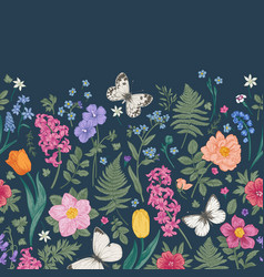 seamless border with spring flowers vector image