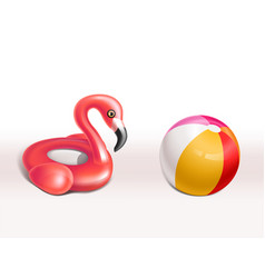 set inflatable flamingo rubber rings vector image