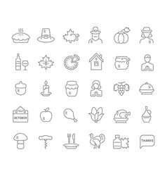 set line icons thanksgiving day vector image