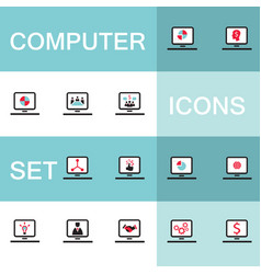 set of icons for computer electronics business vector image