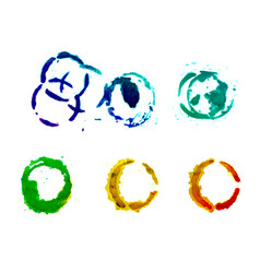 set of round watercolor stains vector image