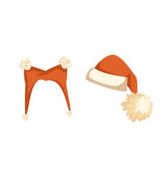 set of santa hat with furry balls isolated vector image