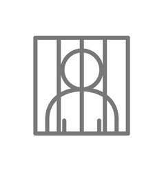 Simple prisoner behind bars line icon symbol and vector