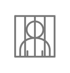 simple prisoner behind bars line icon symbol vector image