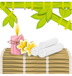 Spa with towel candle and natural flower vector