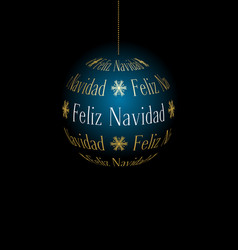 Spanish abstract christmas ball created from text vector