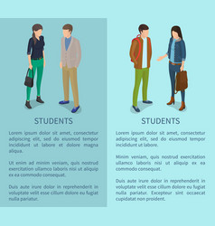 students cartoon characters posters with man woman vector image