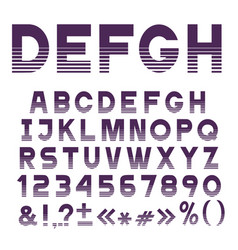 Stylish striped font alphabet lettersnumbers vector